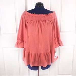 NWT NY Collection coral off shoulder gauze top